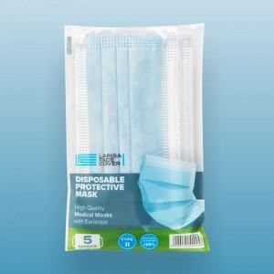 ΜΑΣΚΑ ΠΡΟΣΩΠΟΥ 3PLY TYPE II - 5 TEM/ΣΥΣΚΕΥΑΣΙΑ ΕΛΛΗΝΙΚΗΣ ΚΑΤΑΣΚΕΥΗΣ (>98% bacterial filtration)