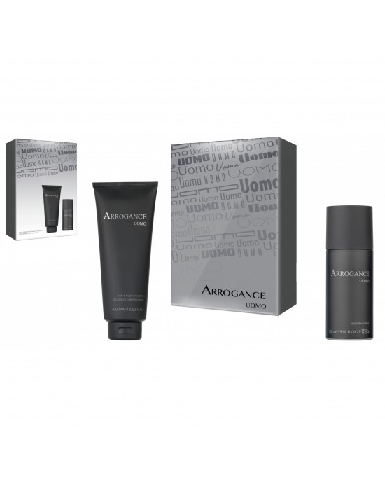 Σετ Arrogance Uomo hair and body shampoo 150ml & deo spray 150ml